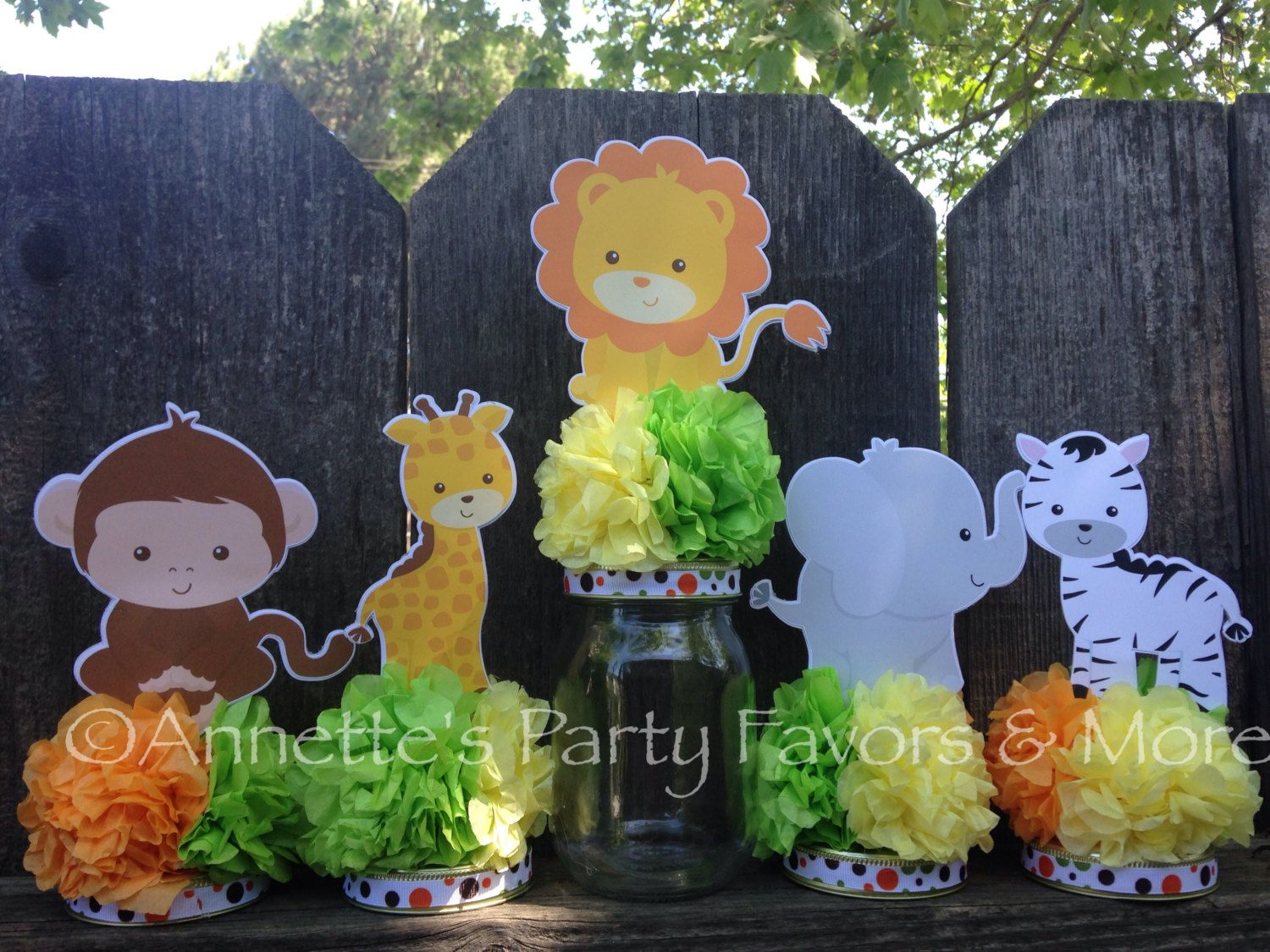 Jungle Safari Baby Shower Decorations - Jungle safari jar centerpiece decoration for baby shower birthday party decoration set of 5 fill with candy