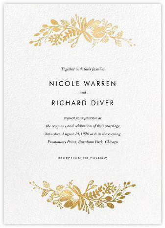 Fl Silhouette Invitation White Gold Paperless Post