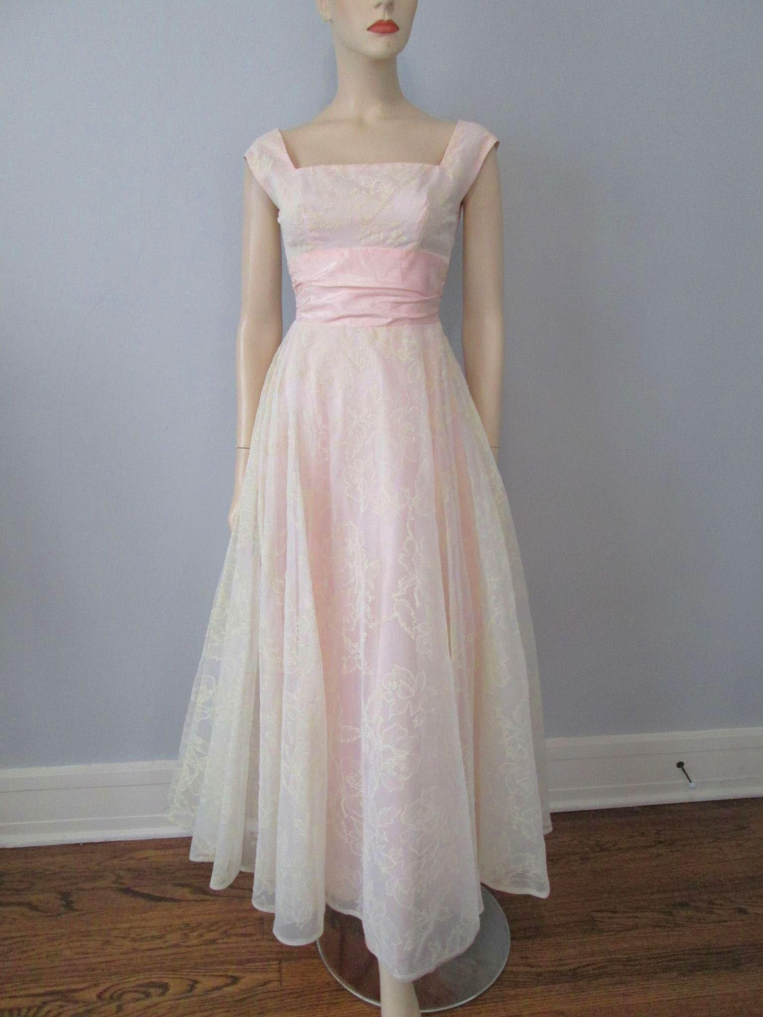 Vintage 1960s Prom Dress Formal Gown Floral Pink Satin Maxi Sleeveless Evening Dresses Elegant Unique Prom Dresses Prom Dresses Vintage [ 2048 x 1536 Pixel ]