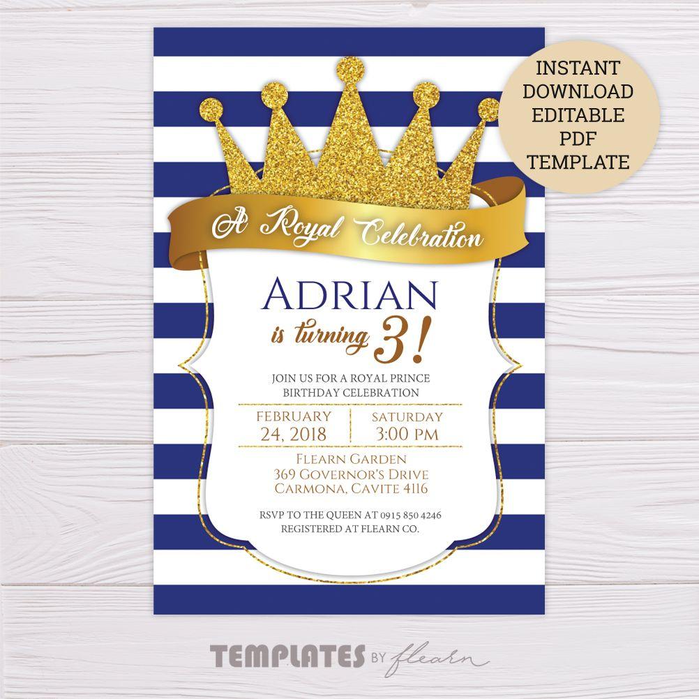 Royal Prince Invitation Template – Dgtally  Prince birthday