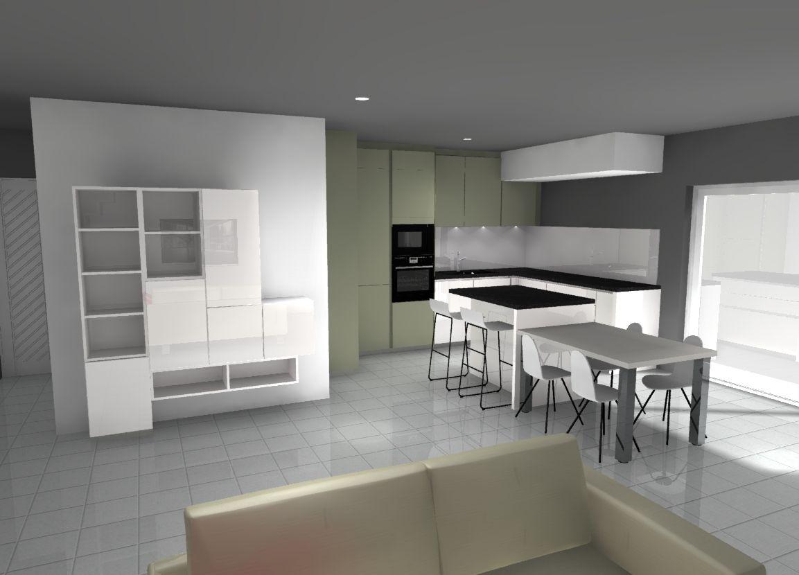 Alliance Meubles De Salon Et De Cuisine Elements En Laque Blanc Brillant Et Kaki Mat Granit Noir Sur I Mobilier De Salon Amenagement Interieur Credence Verre