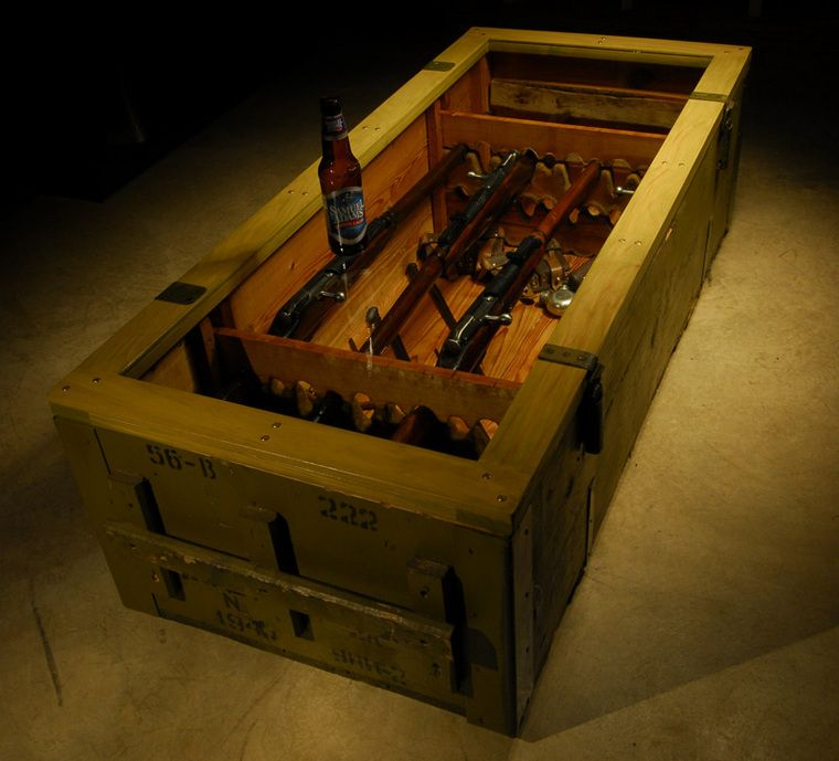mosin nagant rifle crate coffee table. jacob's dream table, it