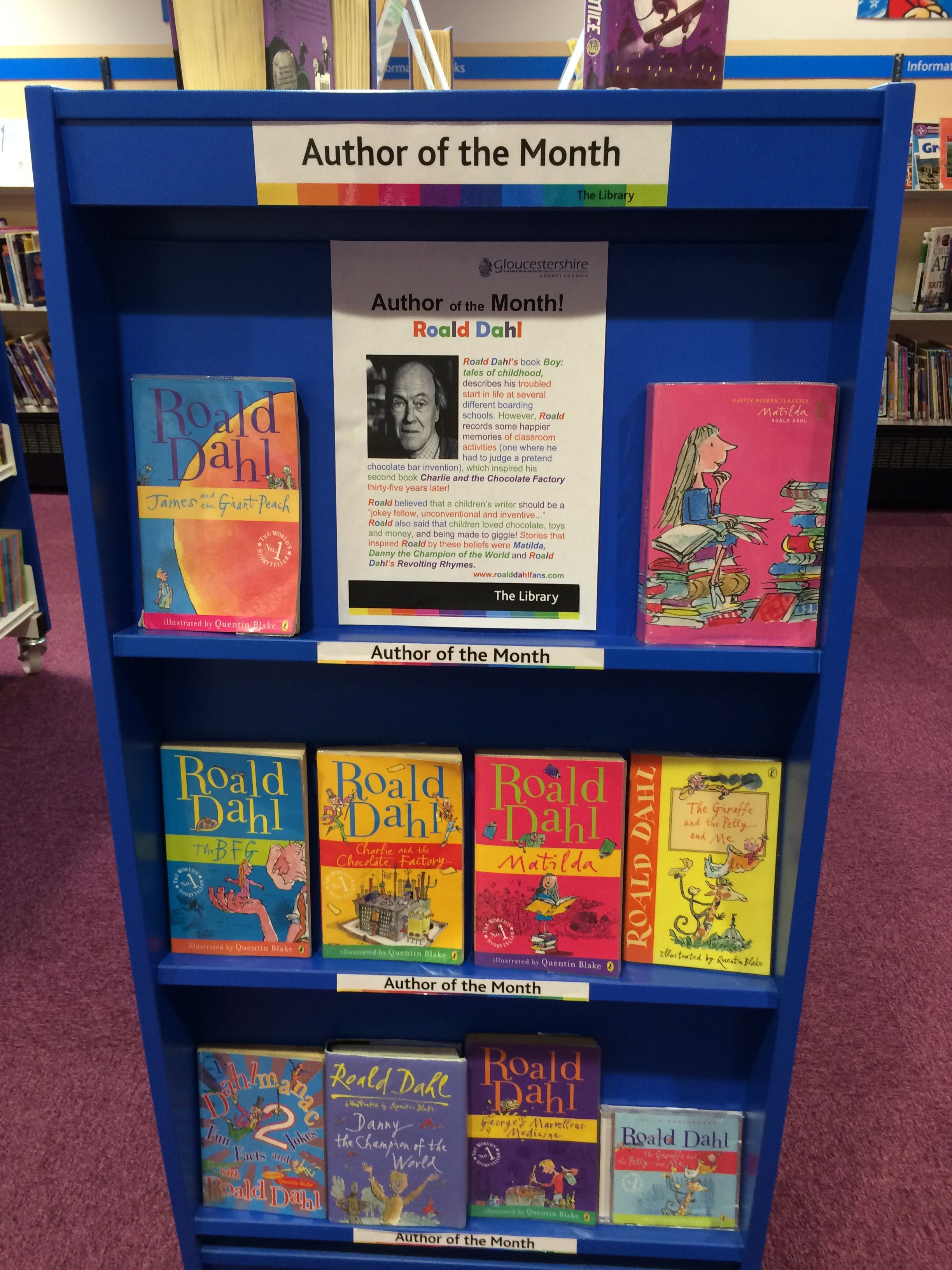 Cheltenham Children S Library Book Of The Month Roald Dahl Dahlicious Reading School Library Displays School Library Book Displays Library Book Displays