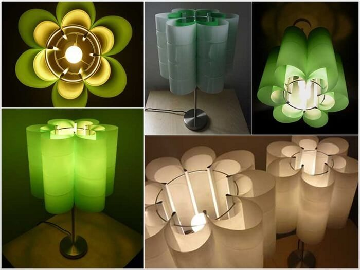 Diseños de lámparas con botellas de plástico recicladas tarea