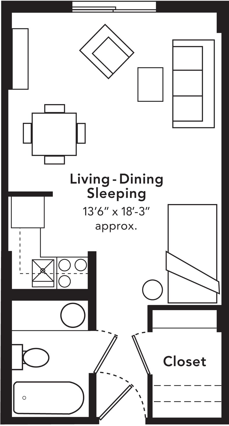 "Studio Apartments Floor Plans 600 sq. foot studio apartment layout.make the kitchen a ""l"