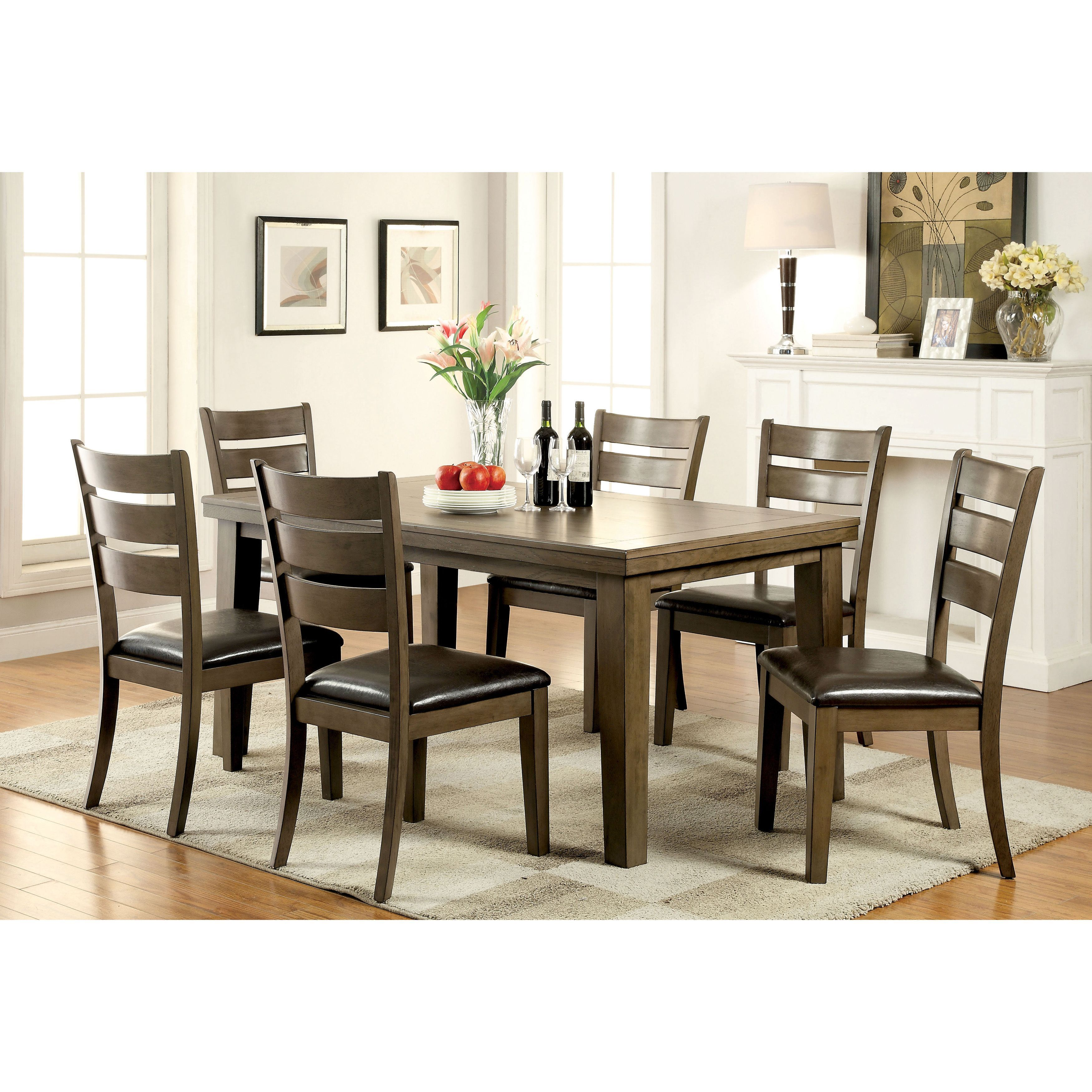 furniture of america frema transitional wooden grey dining