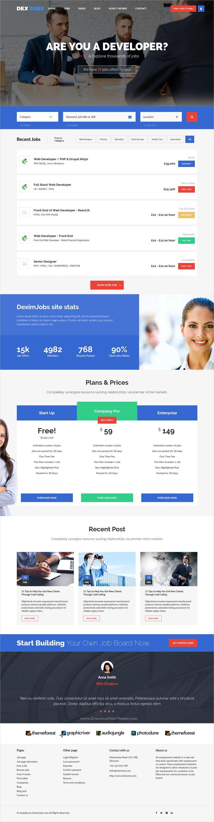 job pro job board html template free download  Dexjobs Job Board HTML Template | Template