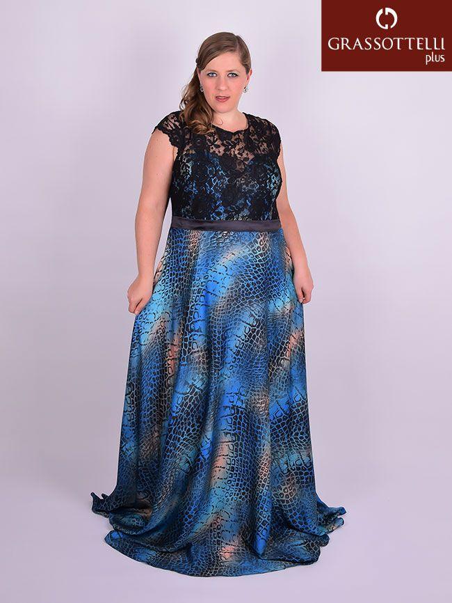 33e9ea53341a Vestido Longo Festa Renda e Cetim Azul Plus Size | Festa Plus Size ...
