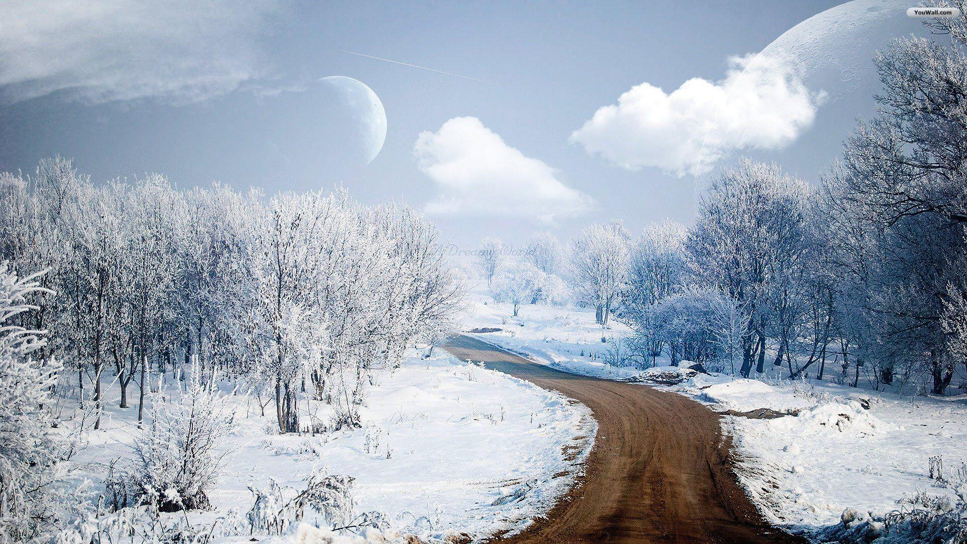 Winter Road Scene Hd Desktop Wallpaper Widescreen High Winter Wallpaper Hd Winter Wallpaper World Wallpaper
