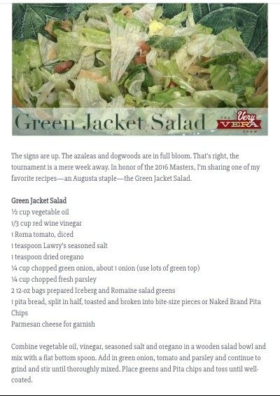 Green Jacket Salad (photo only) | Salads and dressings | Pinterest ...