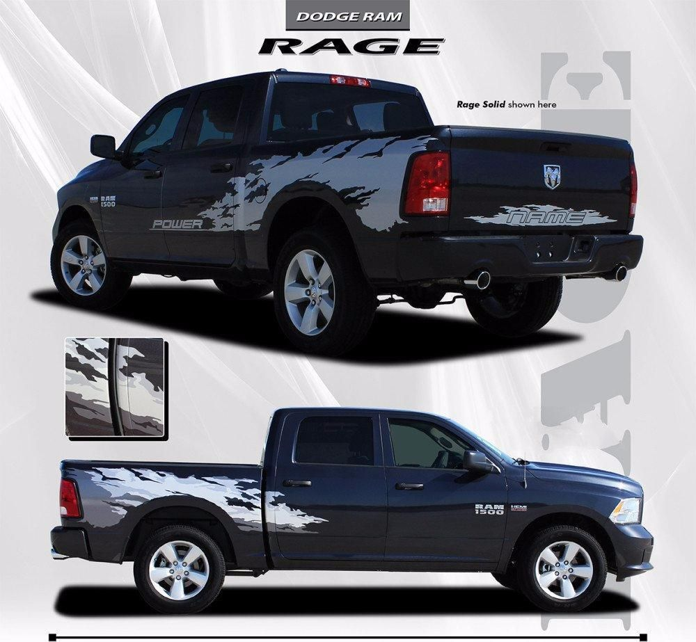 2009 2018 Dodge Ram Rage Multi Color Digital Print Or Solid Color Side Bed Tailgate Truck Power Wagon Vinyl Graphic 3m Stripe Package In 2020 Power Wagon Dodge Ram Digital Prints