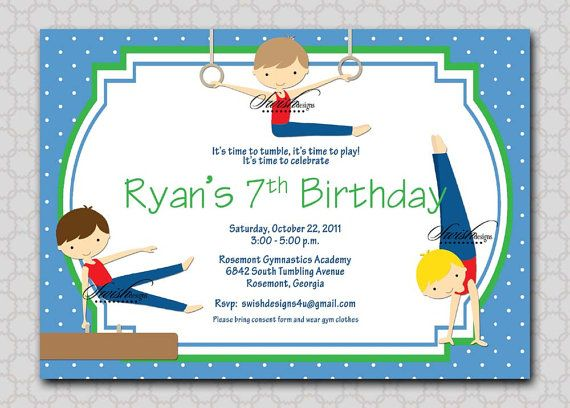 Gymnastics Birthday Invitation Gymnastics Party Invitation Boy – Gymnastics Party Invitation