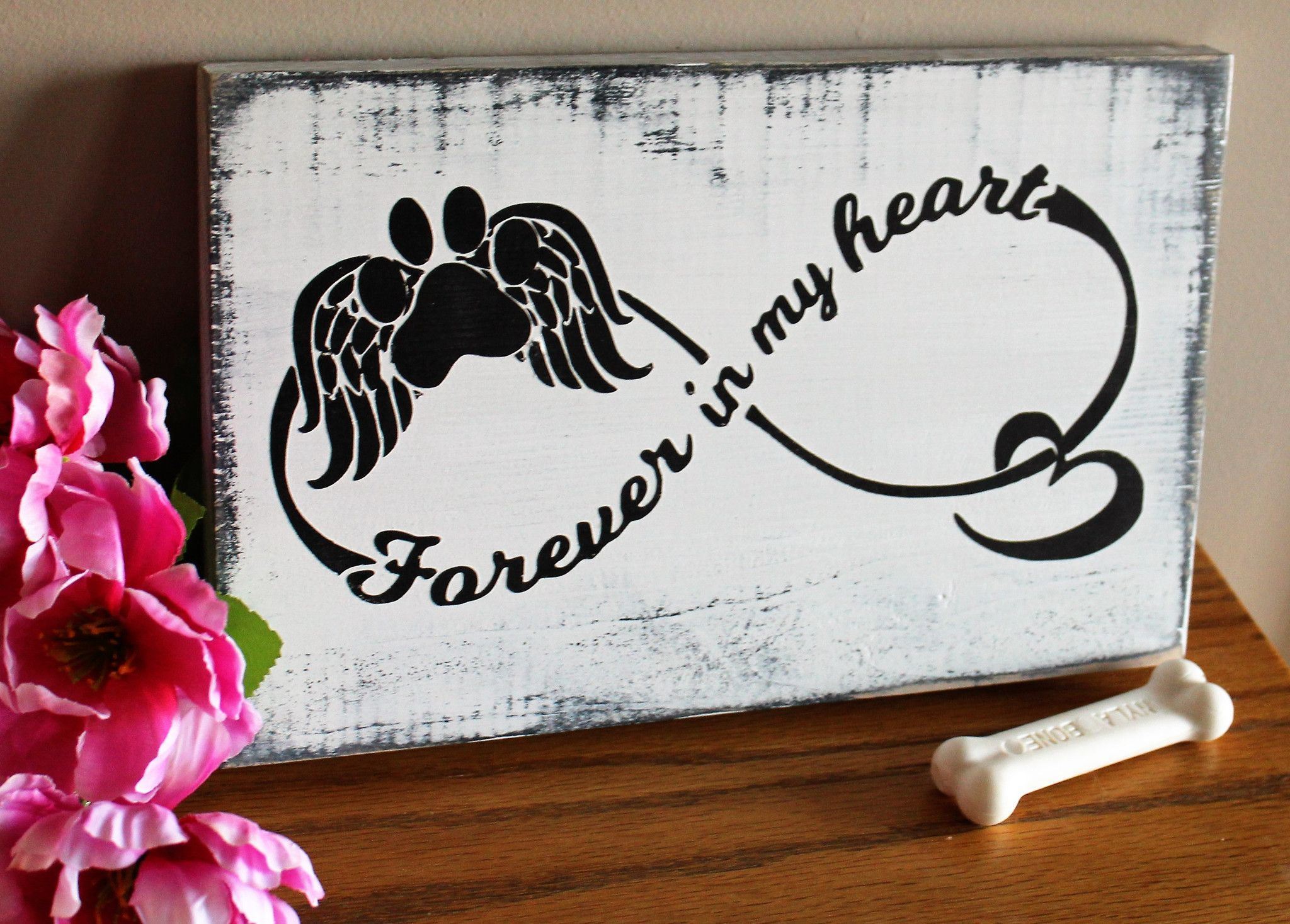 Forever in my heart dog memorial sign sympathy gifts for