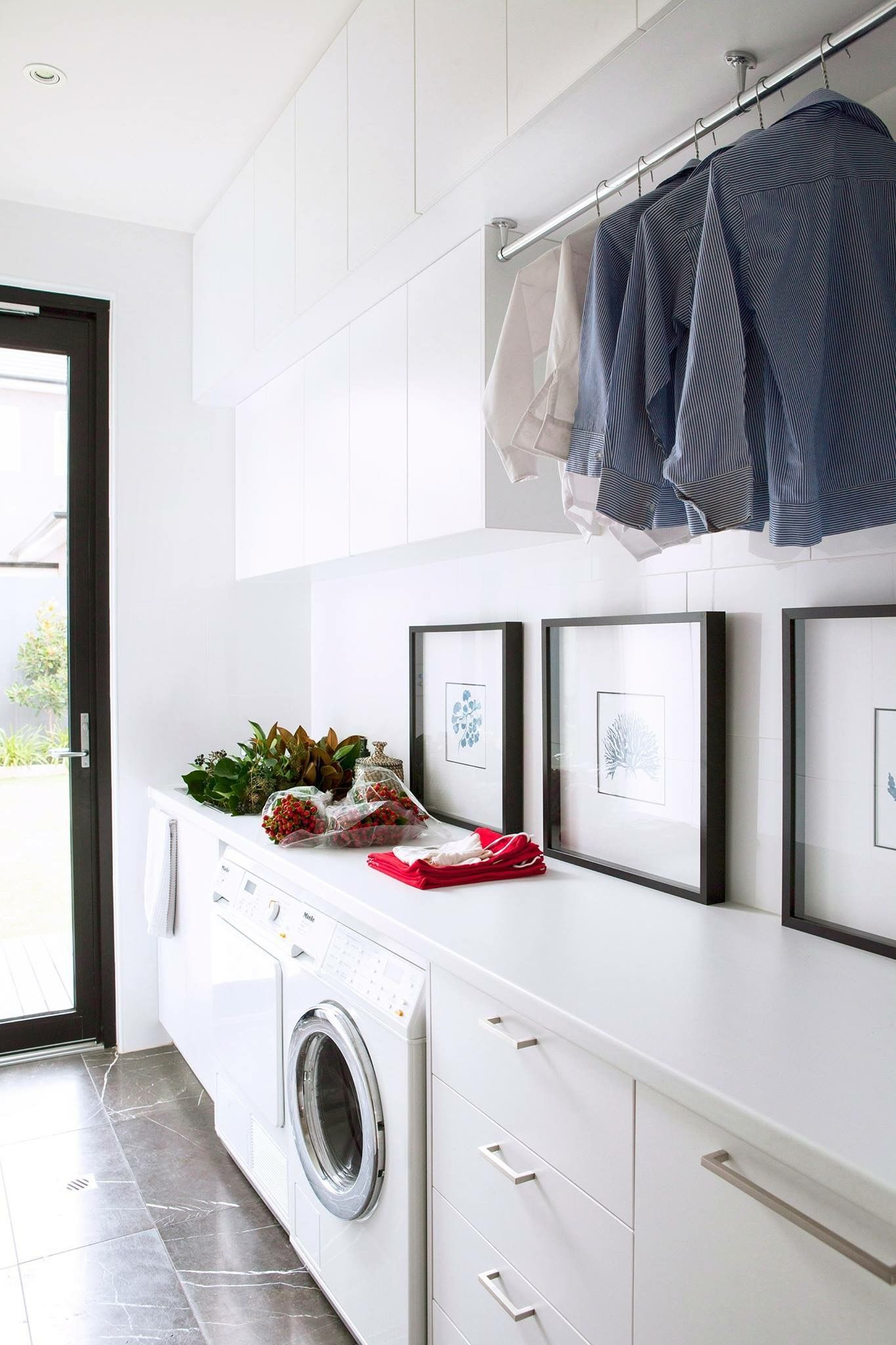 Hanging Space And Long Bench Not Sure About The Top Overhead Cupboards Laundry Room Design Laundry In Bathroom Laundry Design