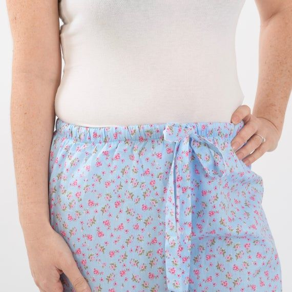Light Blue  cotton lounge wear /pyjamas with elasticated waist and drawstring - 'Antique Flower' #lightblueshorts