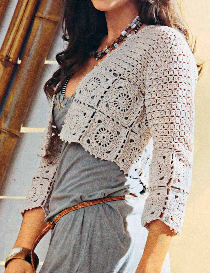 Patrones de Tejido Gratis - chaqueta corta en beige - cream crochet ...