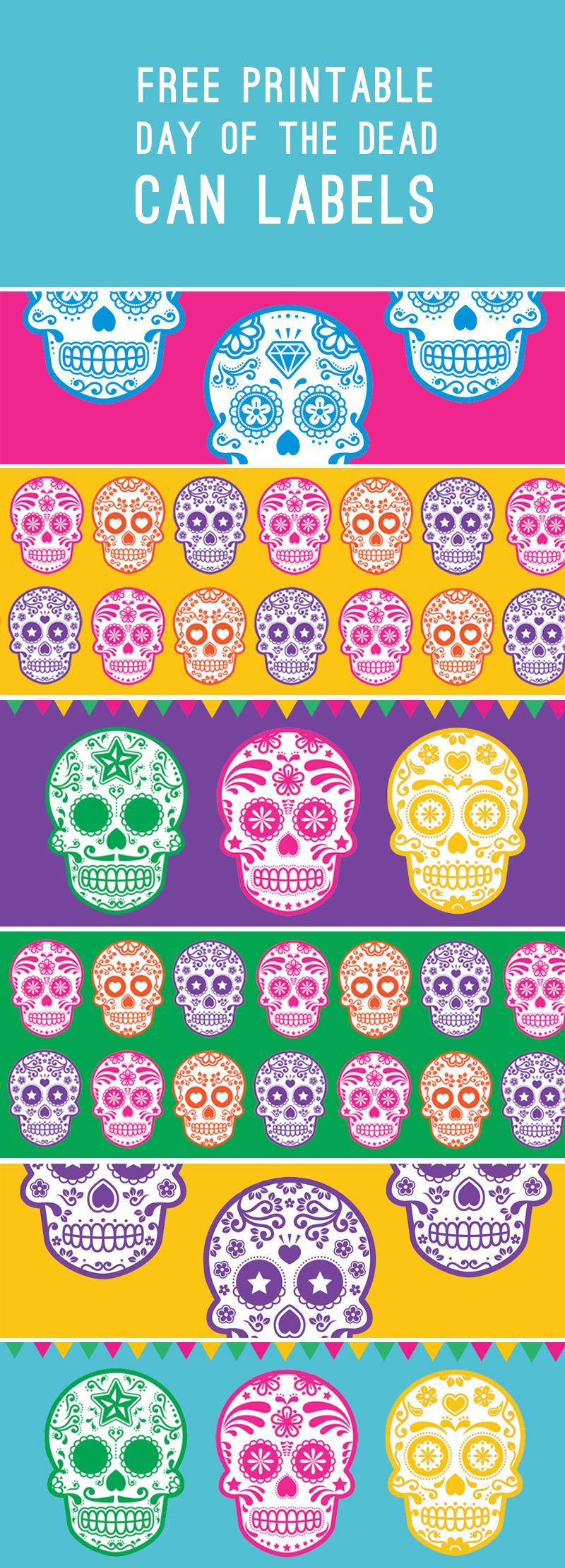 free printable day of the dead can tin labels for halloween