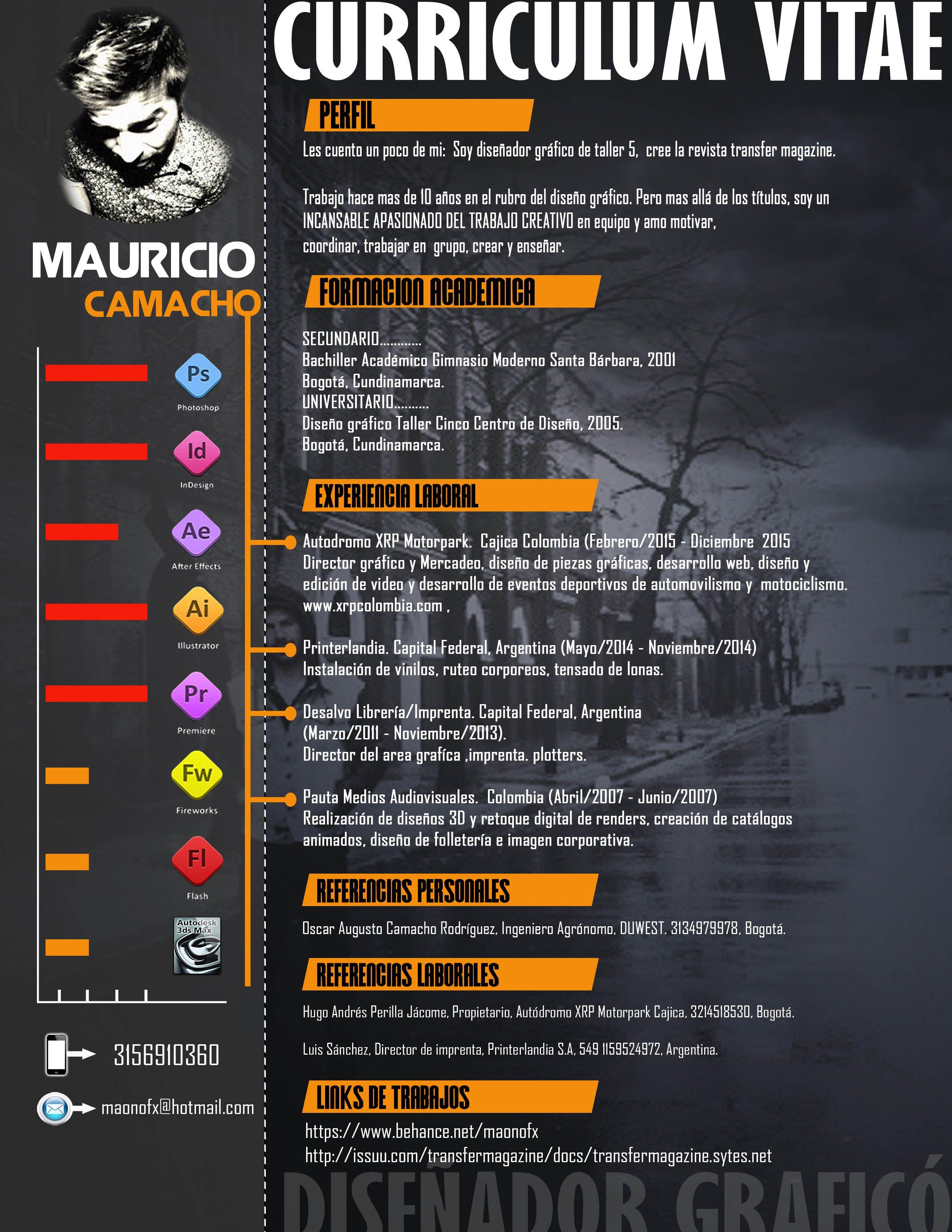 CURRICULUM VITAE MAURICIO CAMACHO R DISEÑADOR GRAFÍCO | Diseñador ...