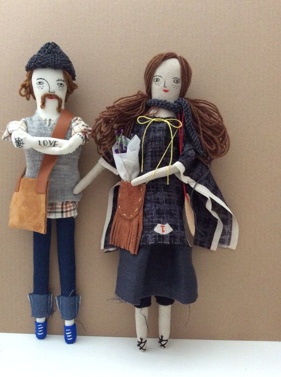 Linen man doll hand embroidered hipster by JessQuinnSmallArt