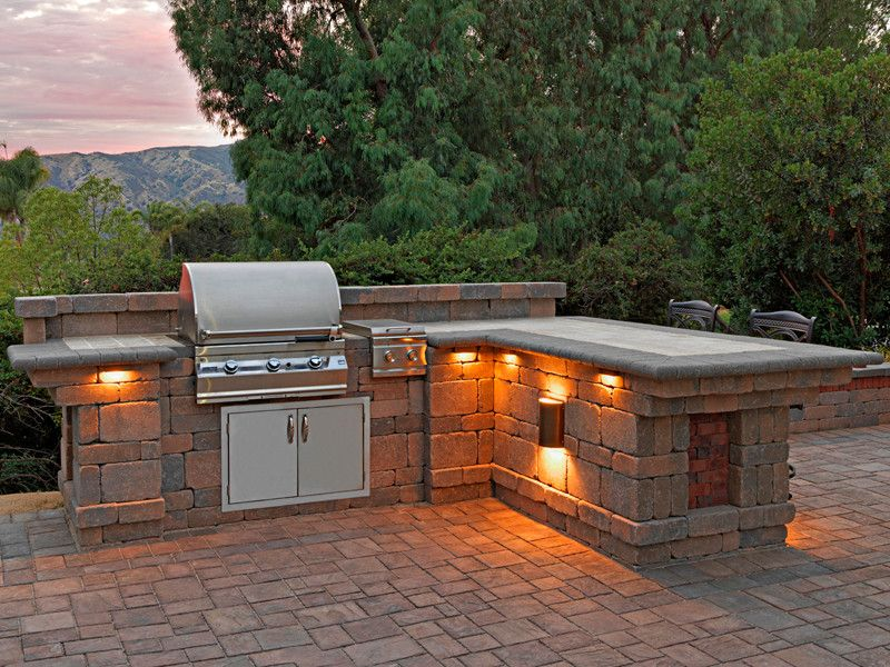 Paver stone patio ideas patio with bbq lighting built in for Outdoor barbecue grill designs