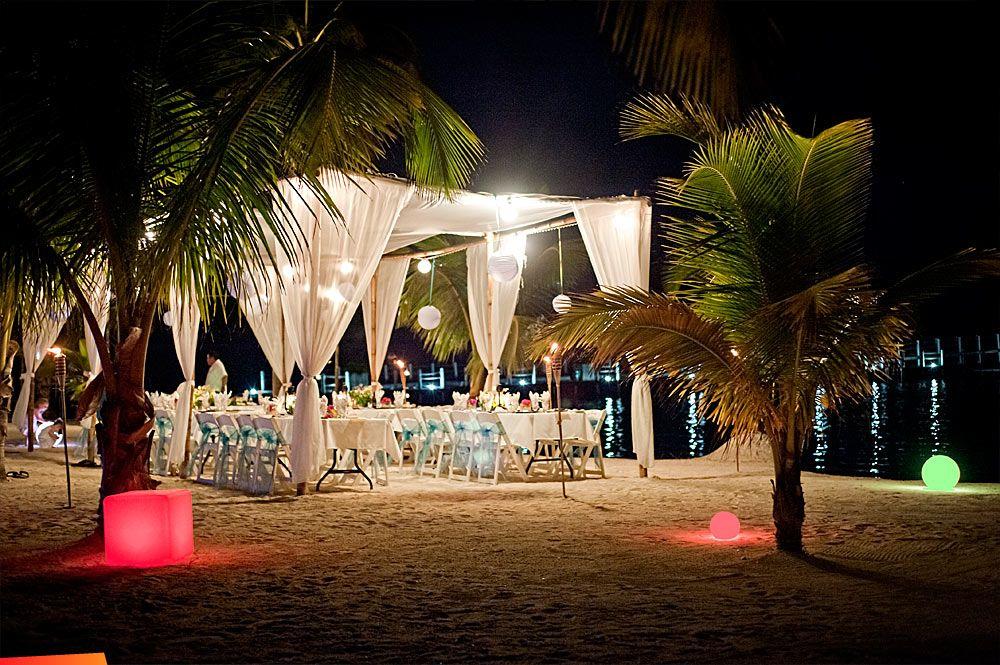 Nice Beautifully Lighted Beach Wedding At Night