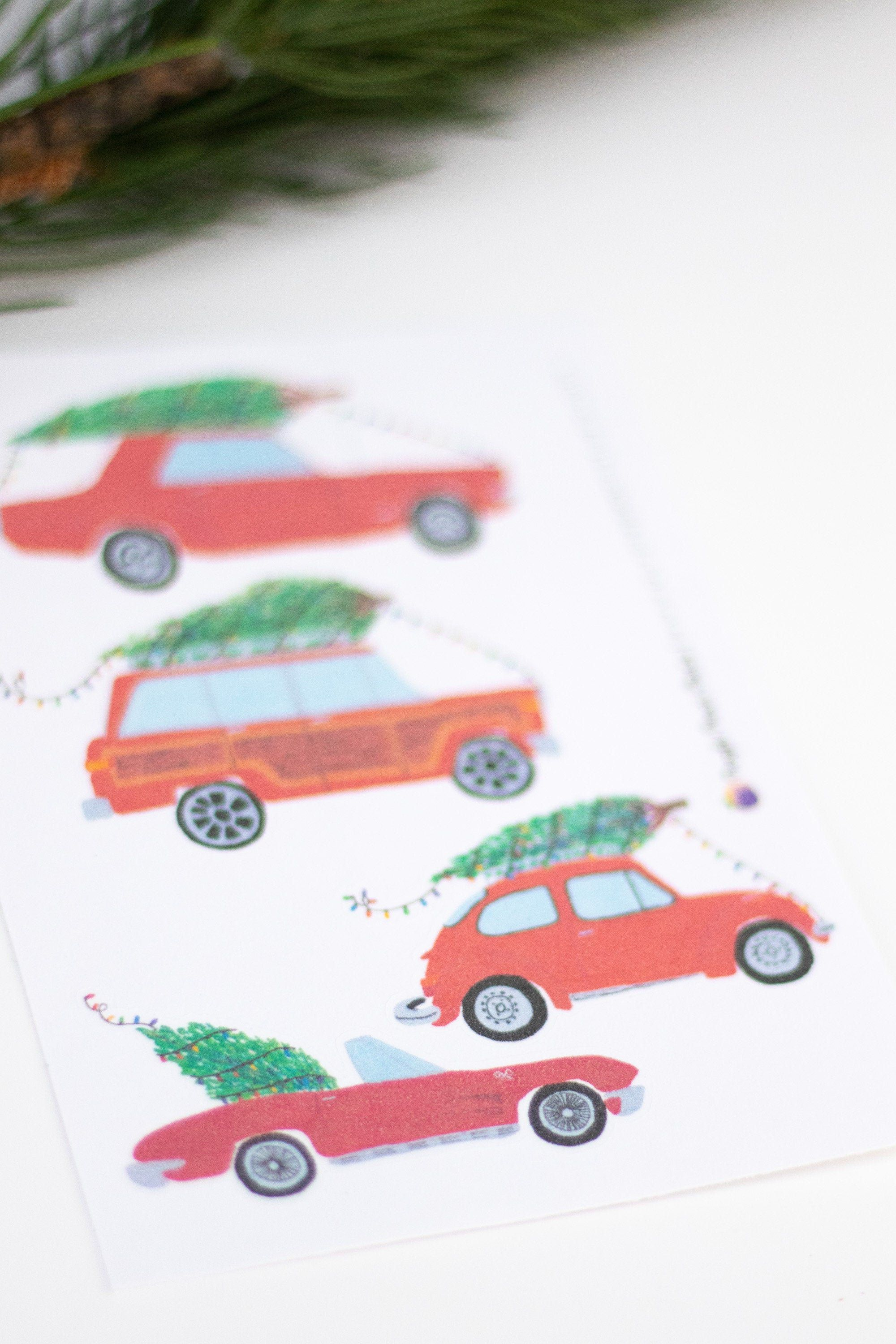 Small Classic Car Christmas Stickers | Classic Cars Carrying Christmas Trees | Vintage Cars Carrying Trees | Vintage Car Stickers Christmas