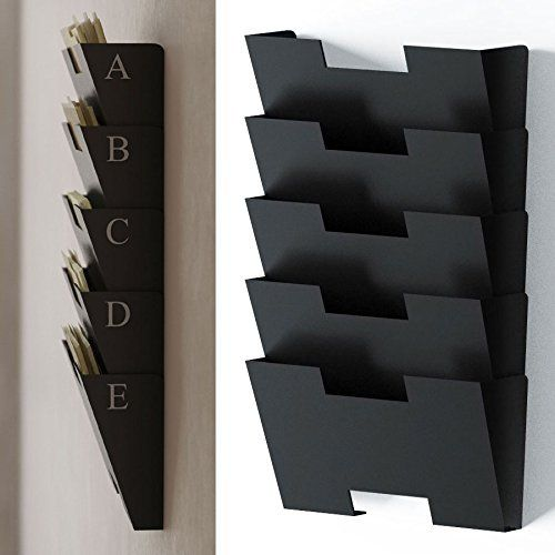 Black Wall Mount Steel File Holder Organizer Rack 5 Sectional
