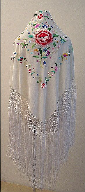 Embroidered & Crocheted Spanish shawl
