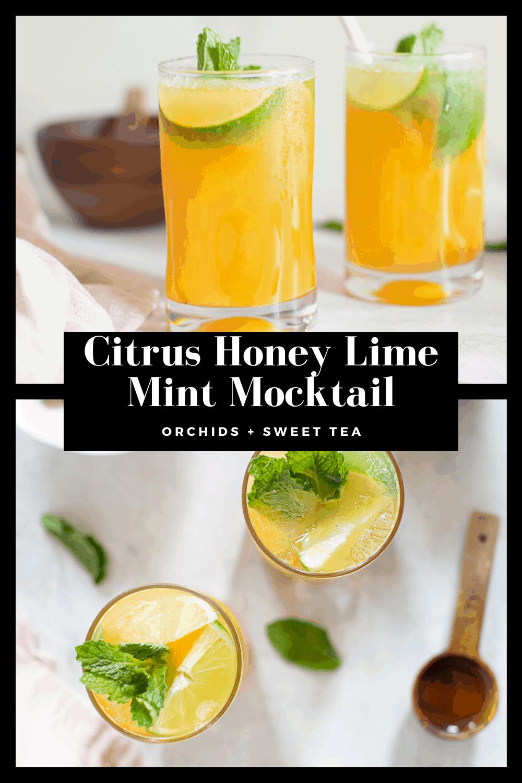 Citrus Honey Lime Mint Mocktail Recipe Mocktails Mint Drink Honey Lime
