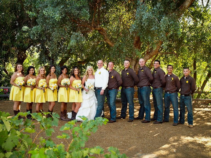 Kodadek country wedding brown and yellow jeans and for Country wedding party dresses