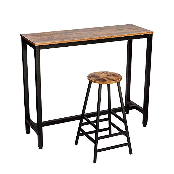 Amazon Com Ironck 2 Piece Pub Bar Table Set 47 2 L 15 7 W 39 4 H Industrial High Top Table With Bar Stool Cha Bar Table Sets Kitchen Bar Table Bar Table