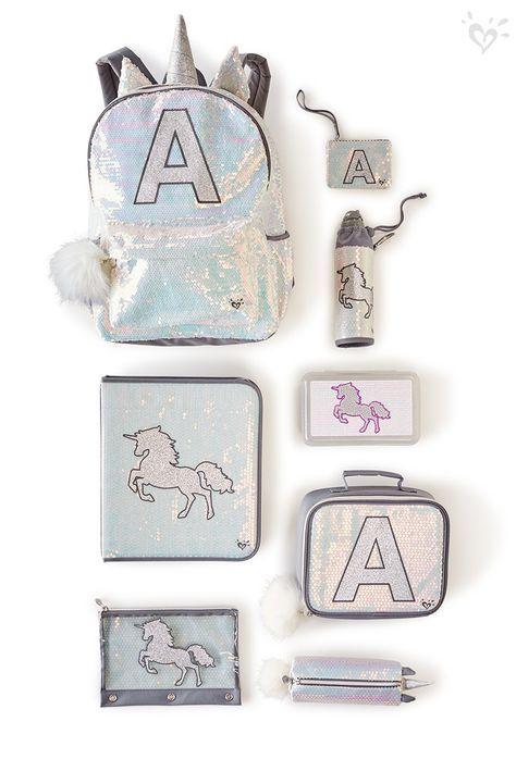 Personalised Girls Unicorn Initial Pencil Case Make Up Bag School Kids Custom