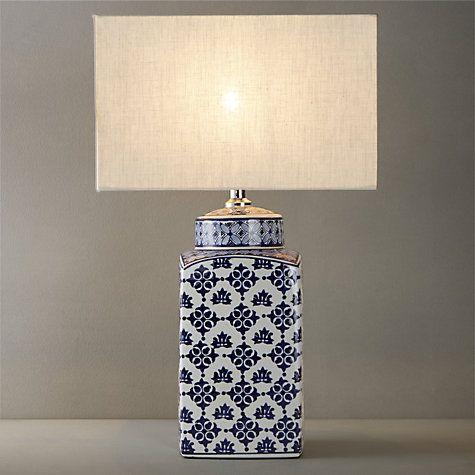John Lewis Partners Beth Ceramic Lamp Base Blue White H40cm Blue White Lamp Lamp Bases White Decor