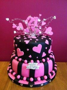 pink black 21 30th Birthday Party Ideas Pinterest 21st cake