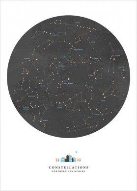 affiche poster carte du ciel des etoiles et constellations noemie cedille carnet. Black Bedroom Furniture Sets. Home Design Ideas