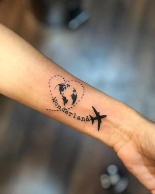 Dashed Heart Travel Tattoo #tattooideas