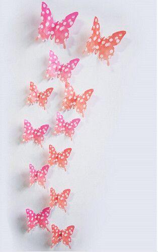 12Pcs/lot 3D Butterfly Flower, Bat, Butterflies, Wedding Decoration PVC Wall Sticker Decals Kid Room Home Decor