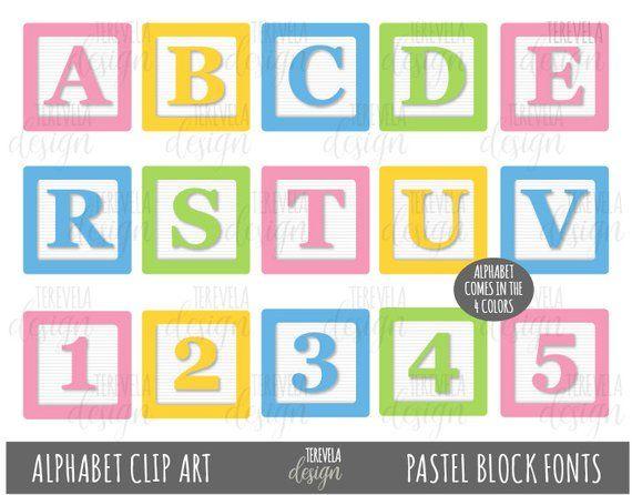 Pastel Blocks Fonts Clipart Alphabet Clip Art Kids Blocks Clip