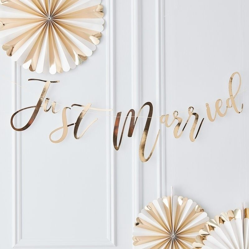 Gold Just Married Wedding Bunting Girlande Hochzeit Just Married Girlande Girlanden