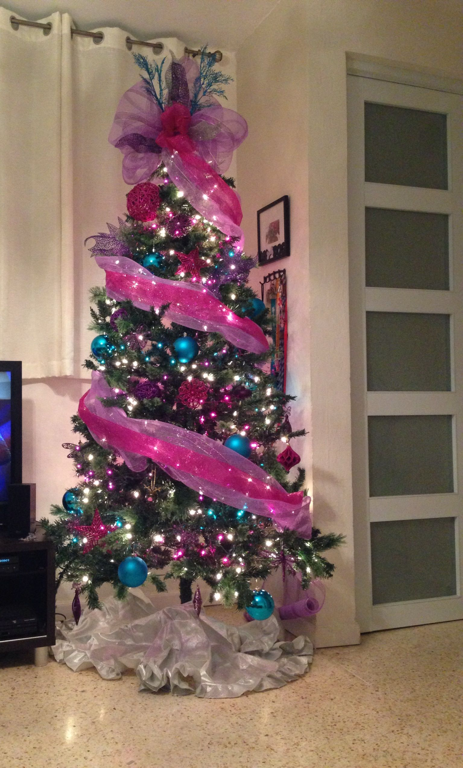 Pink, blue christmas tree Girly