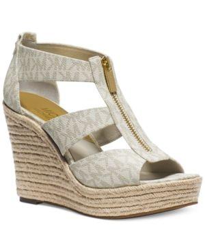 80d93b24965 Michael Michael Kors Damita Platform Wedge Sandals - Tan Beige 5M ...
