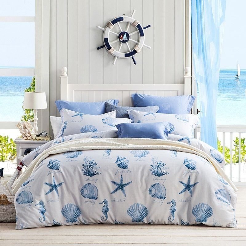 Kids Navy Blue And White Seashell Starfish And Coral Reef Print