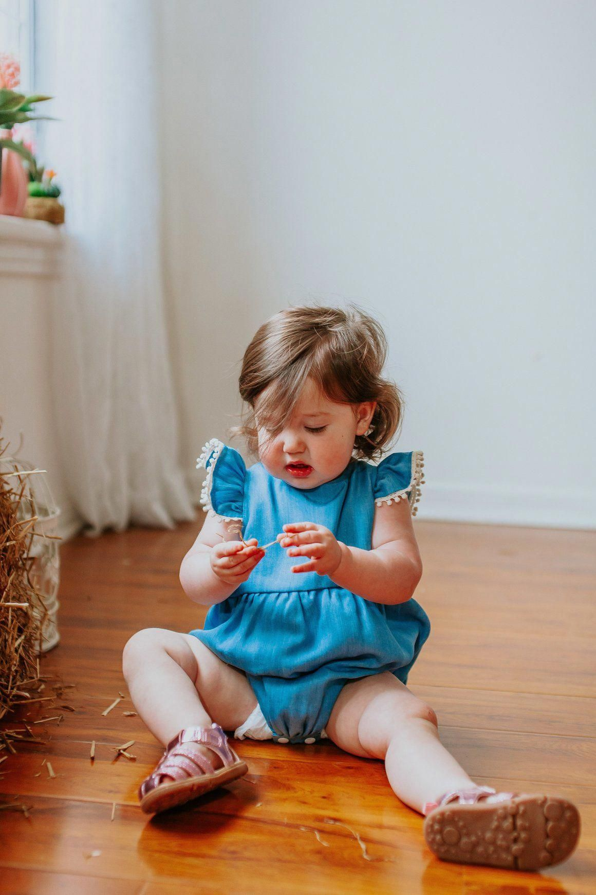 3b32139f3 chambray bubble romper with pom pom trim, available at cuteheads.com  #kidsfashiondiy