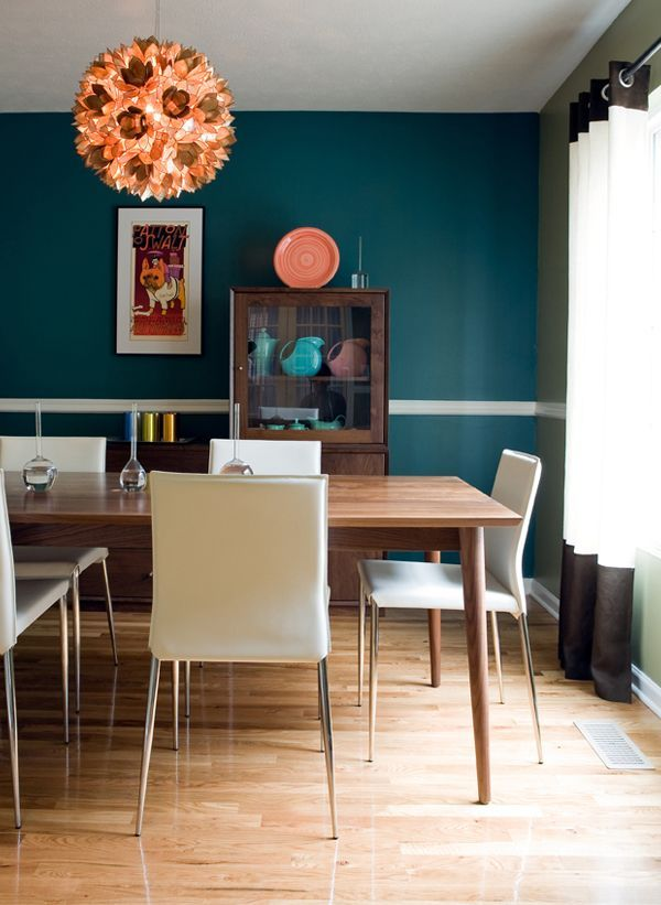 KBHome Mid Century Modern Dining Room Teal WallsBlue Accent