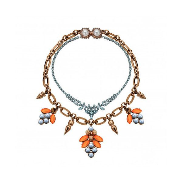 MAWI Layered Necklace ($600) ❤ liked on Polyvore featuring jewelry, necklaces, rose gold, spike jewelry, pave necklace, flower necklace, spike necklace and pave jewelry