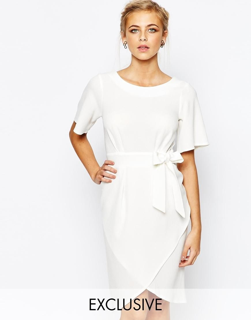 Closet | Closet Tie Front Dress With Kimono Sleeve at ASOS
