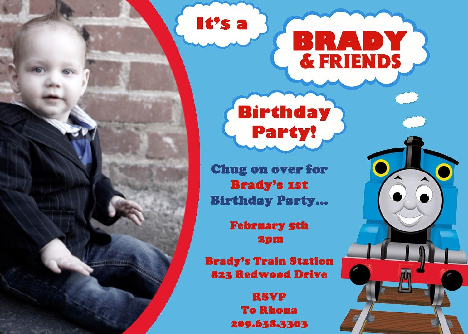Download Now FREE Template Thomas The Train Photo Birthday Invitations Parties Trains