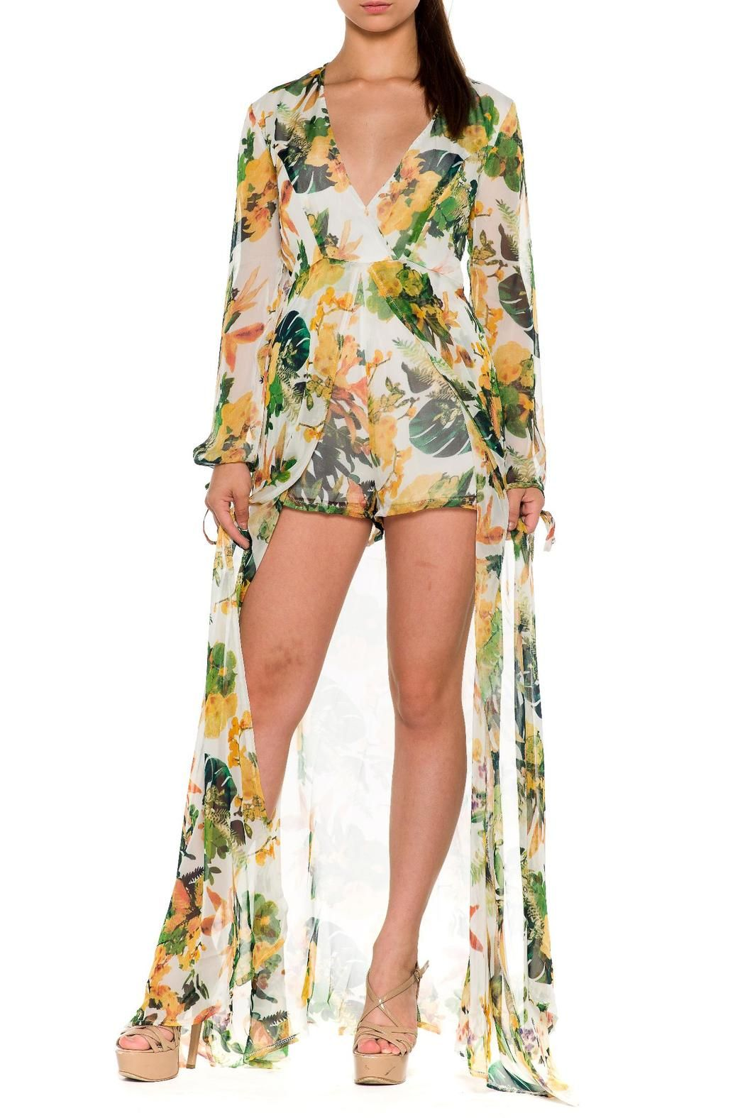 ff4f522d8dd0c Going maxi with a romper? Floral print chiffon, this long tail overlay  romper has sheer long sleeves tied on edges. V-neck style sheer maxi skirt  overlay ...