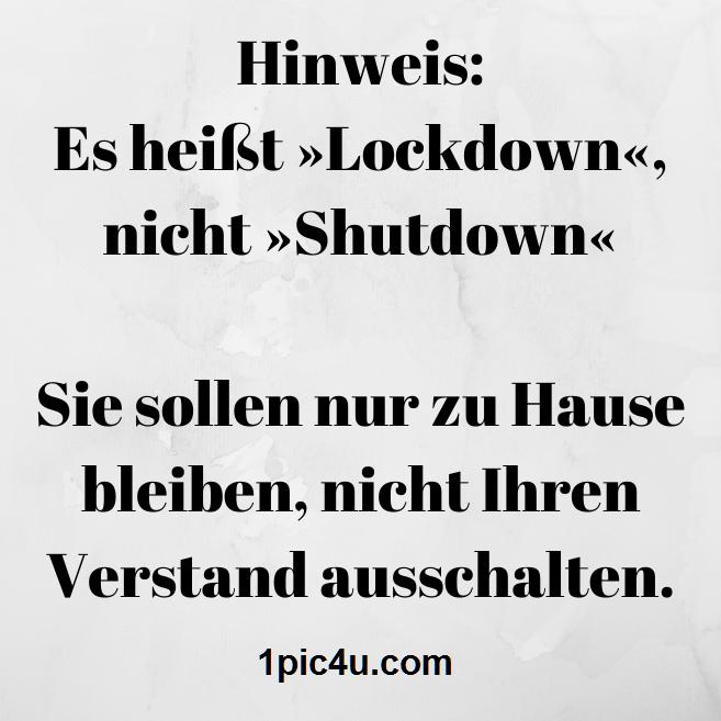 Hinweis Es Heisst Lockdown Nicht Shutdown Sie Sollen Nur Zu Hause Bleiben Nicht Ihren Verstand Ausschalten 1pic Susse Zitate Fiese Spruche Nette Zitate
