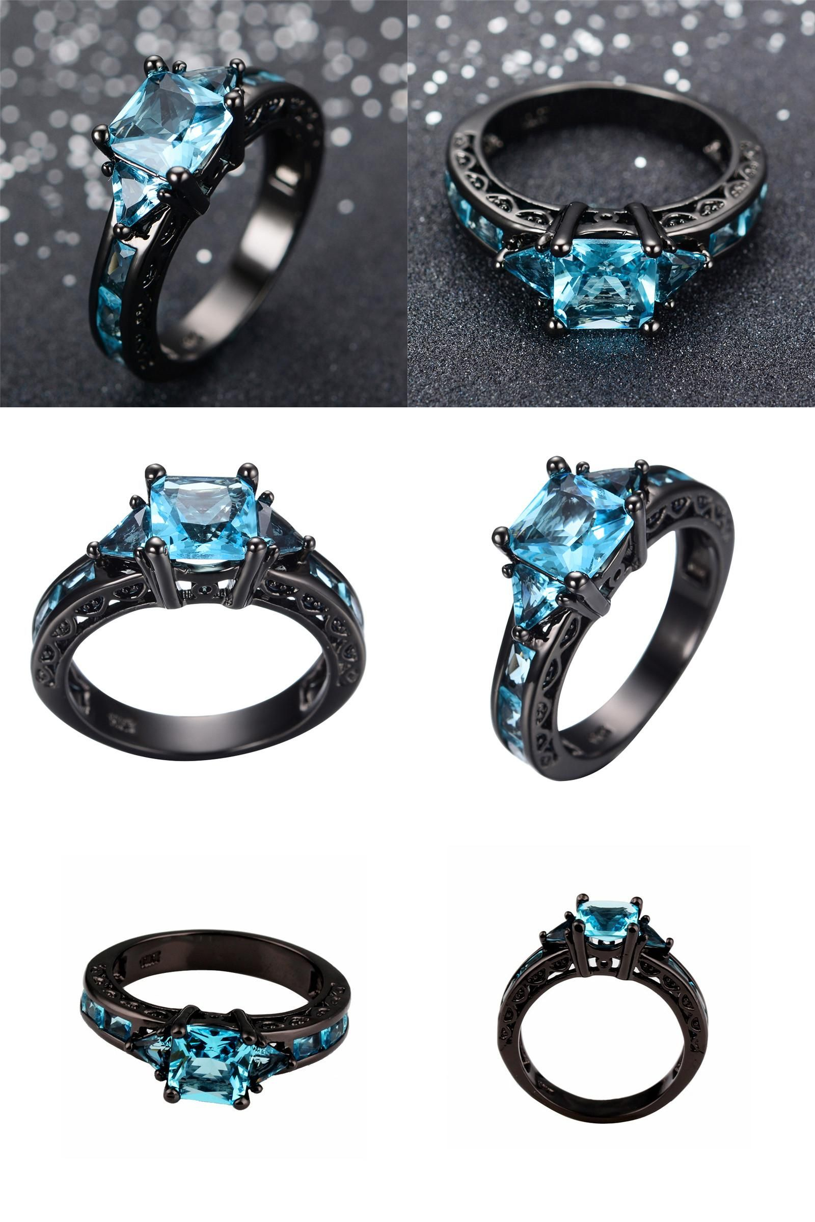 Visit to Buy] Size 6 10 Classical Jewelry Princess Cut Light Blue